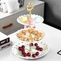 Kuchen Dessert Rack Platten Explosion Stil Europäischen Hochzeit Multi Schicht Kunststoff Drei tier Obst Tablett Snack Süßigkeiten Tablett-in Geschirr & Platten aus Heim und Garten bei