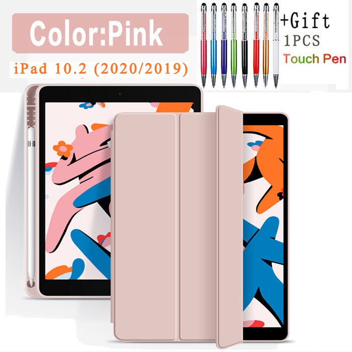 Flip Case-Pink Blue Funda Case For Apple iPad 10 2 2020 2019 flip Case with Pencil Holder For iPad