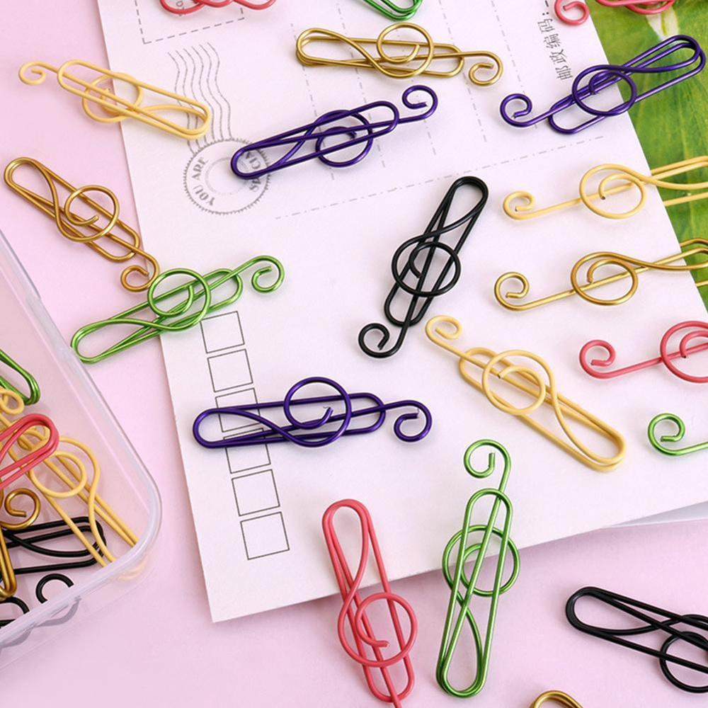 Music Note Shaped Paper Clips Decorative Gold Decor For Office Gold Stationery Gold Paper Clip Wholesale Paper Clips Kawaii Clip