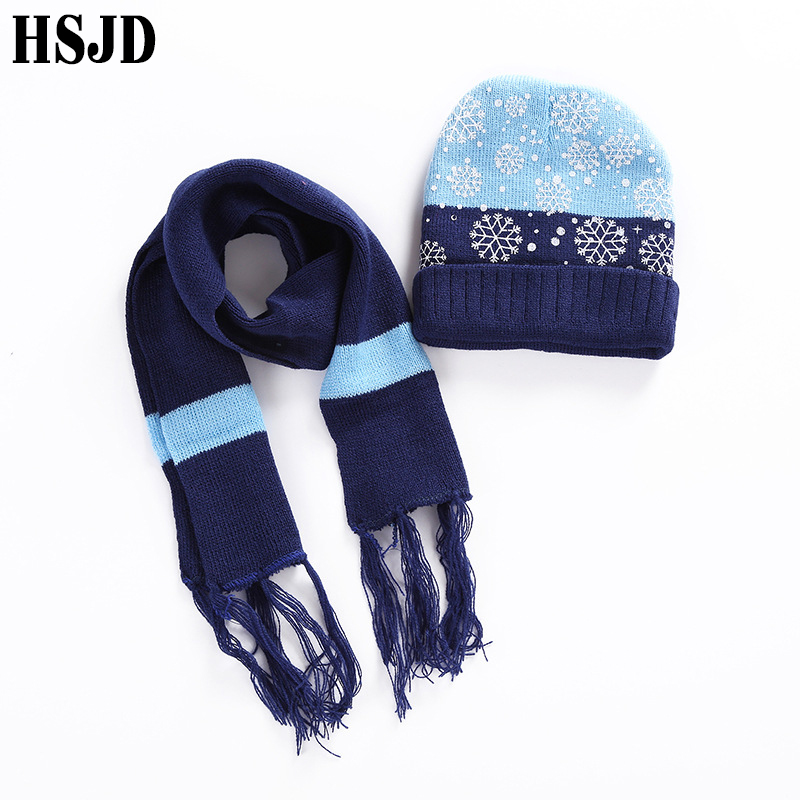 1-6 Years Children Beanie Hat Scarf Set Snowflake Knitted Hats For Boy Girl Warm Skullies Beanies Winter Caps Christmas Gift