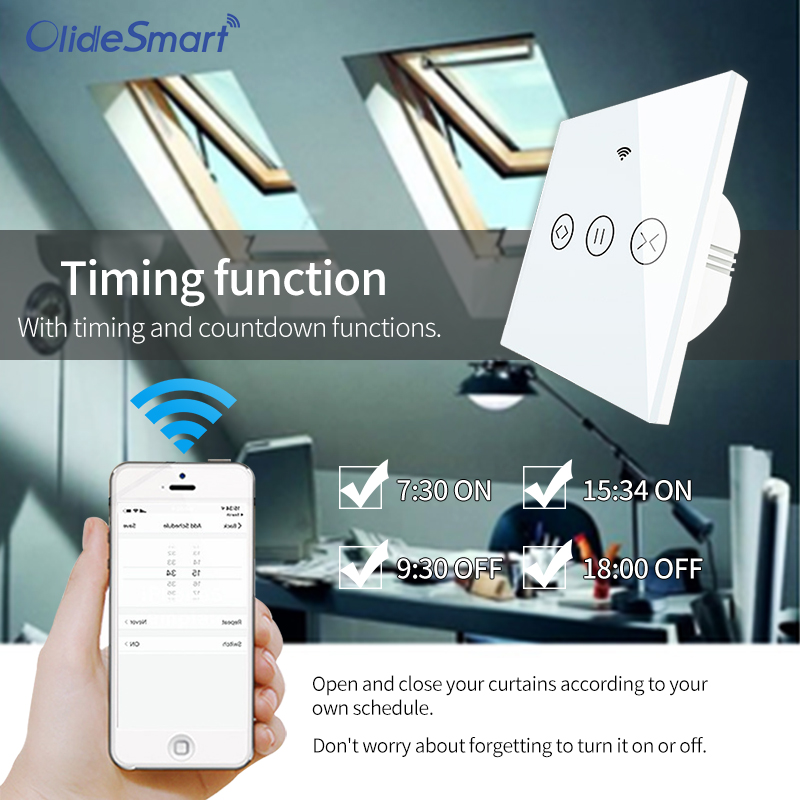 Olide Smart Wifi Switch For Automatic Window Opener With AC Motor,Phone App Control,Compatible With Alexa&Google Assistance