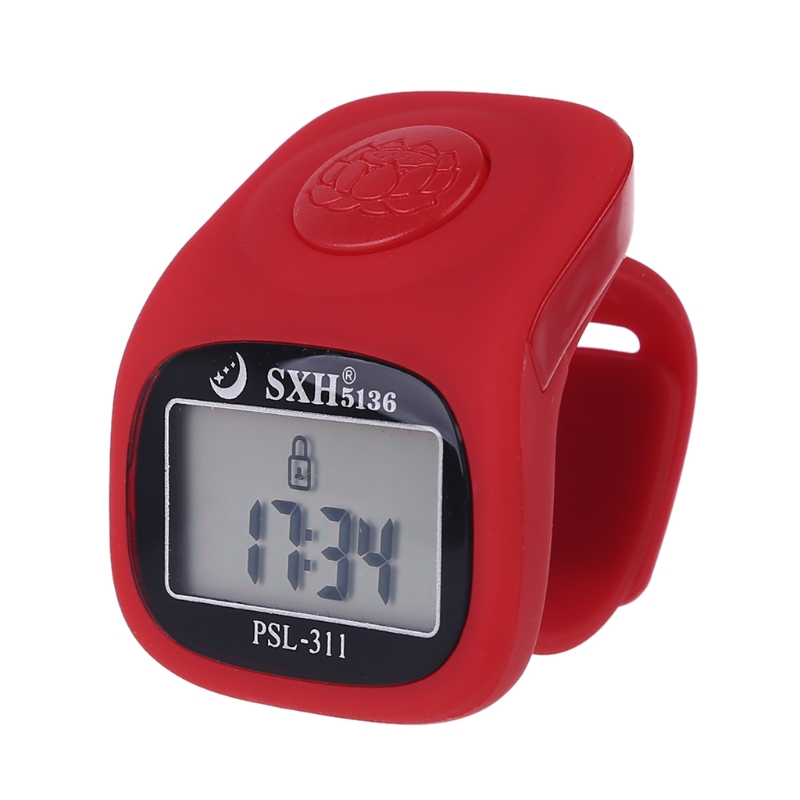 6 Digital Finger Tally Counter 8 Channels w Backlight Time Prayer Silicone Ring