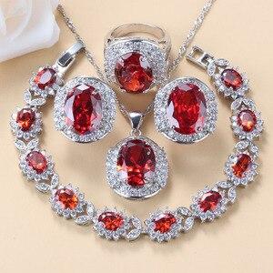 Image 1 - Conjunto de joyas grandes para novia, collar y pendientes de granate rojo Natural, plata 925, bisutería de boda, joyería para mujer, caja de regalo