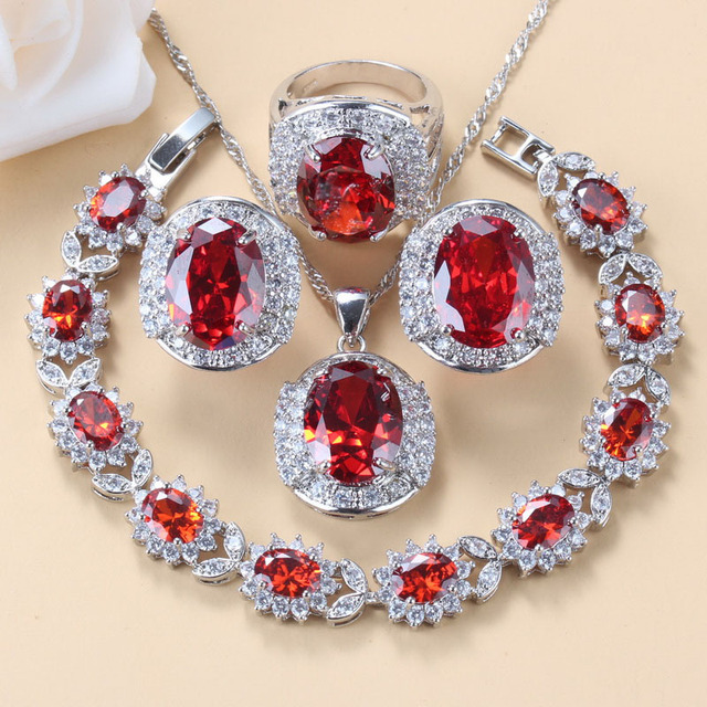 Conjunto de joyas grandes para novia, collar y pendientes de granate rojo Natural, plata 925, bisutería de boda, joyería para mujer, caja de regalo