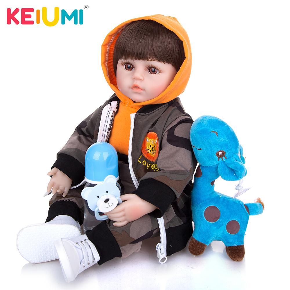 KEIUMI livraison directe 48 CM Reborn bébés poupée tissu corps réaliste cheveux courts nouveau-né bébé poupée jouet enfant en bas âge cadeau danniversaire présent