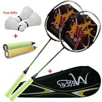Professional Ultra Light Carbon Badminton Racquets Elastic&Durable Racket For 18 24 lbs Low/Medium Pound Amateur Junior