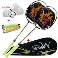 Professional Ultra Light Carbon Badminton Racquets Elastic&Durable Racket For 18 24 lbs Low/Medium Pound Amateur Junior