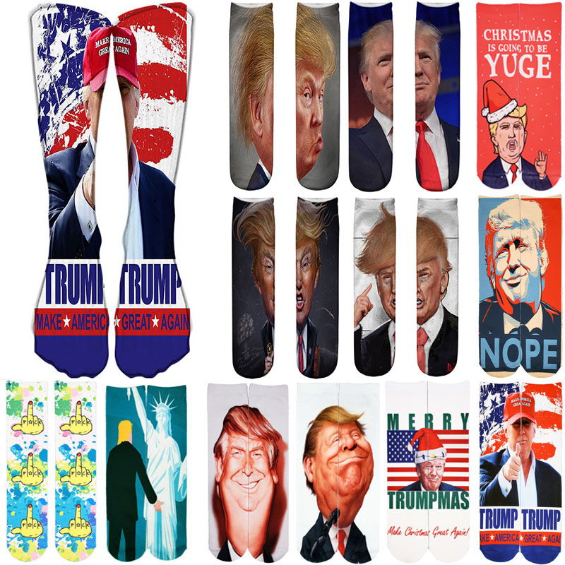 President Donald Trump Socks Unisex Funny Print Adult Casual Crew Socks 3D Crew Socks For Men Hip Hop Skateboard Christmas Sock