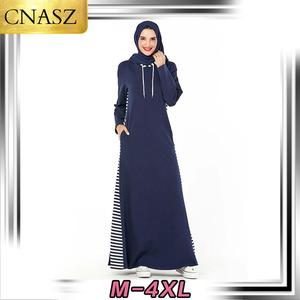 Fashion Hoodie Hooded Pocket Arab Dress Muslim Skirt Loose Long Sleeve Casual wear Islamic Turkey Dubai Ladies Style Plus Size