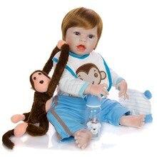 купить all Silicone vinyl body doll Bebe boy Reborn 22'' 55 cm Handmade simulation Reborn Baby Doll Toys girls Xmas Gift and open hands онлайн