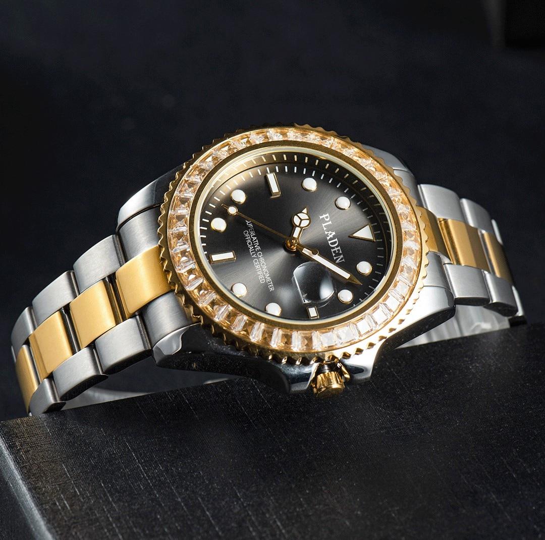 Pladen masculino relógios arco-íris-colorido gem bezel luxo