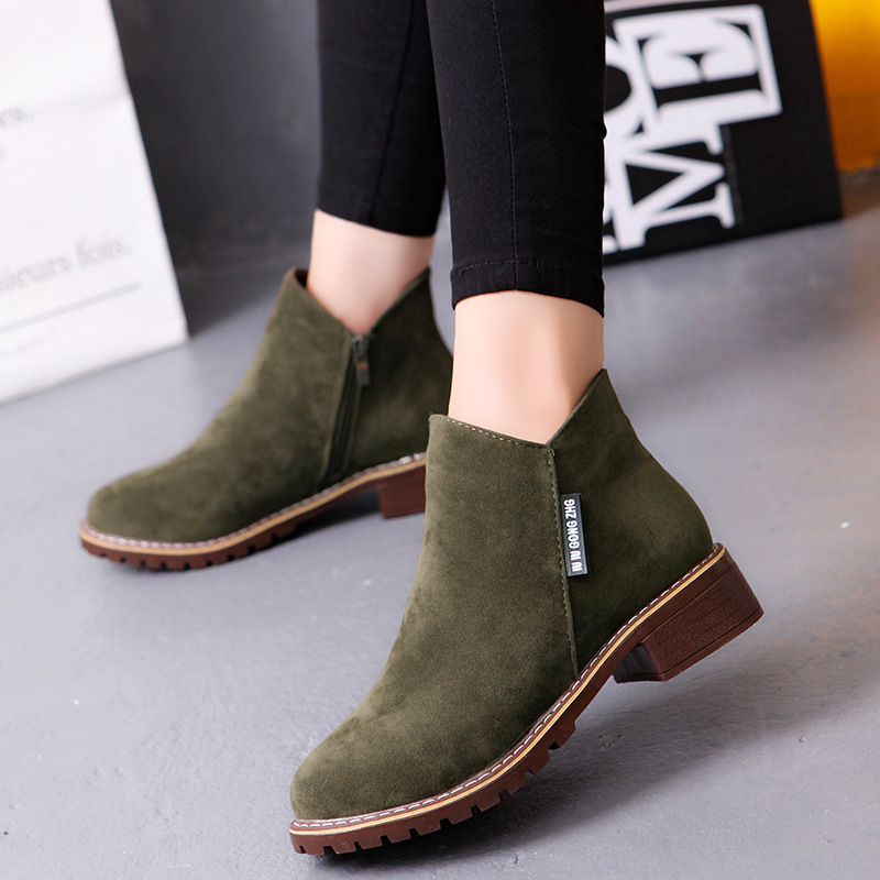 Winter boots women sneakers square heel casual shoes woman 2019 fashion side zipper solid adult women ankle boots women shoes