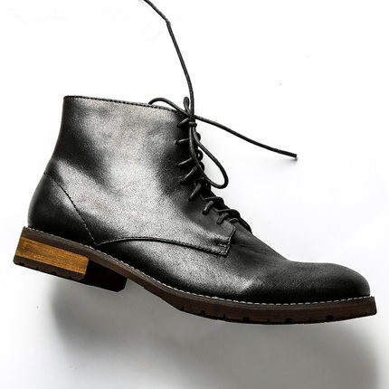 Fashion Lace Up Ankle Martin Boots New Men Retro Desert Boots Spring Autumn Genuine Leather Casual Shoes For Men Black