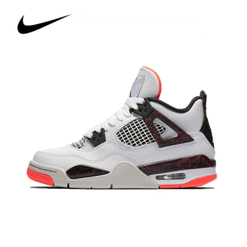 Original Nike Air Jordan 4 hot lava GS Women's Basketball Shoes High-top Comfortable Sports Outdoor Non-slip Sneakers 408452-116