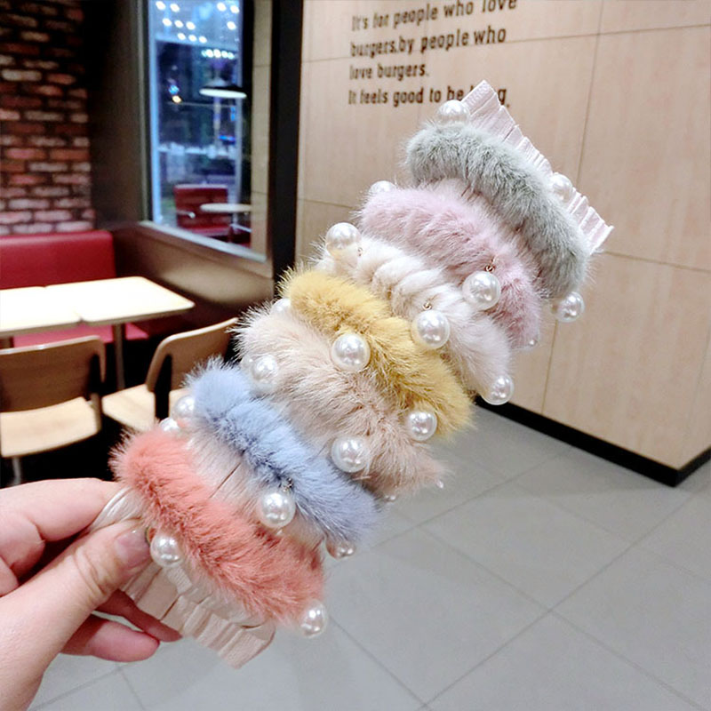 New Women Girls Colorful Faux Fur Pearls Elastic Hair Bands Ponytail Holder Sweet Scrunchie Headband Fashion Hair Accessories