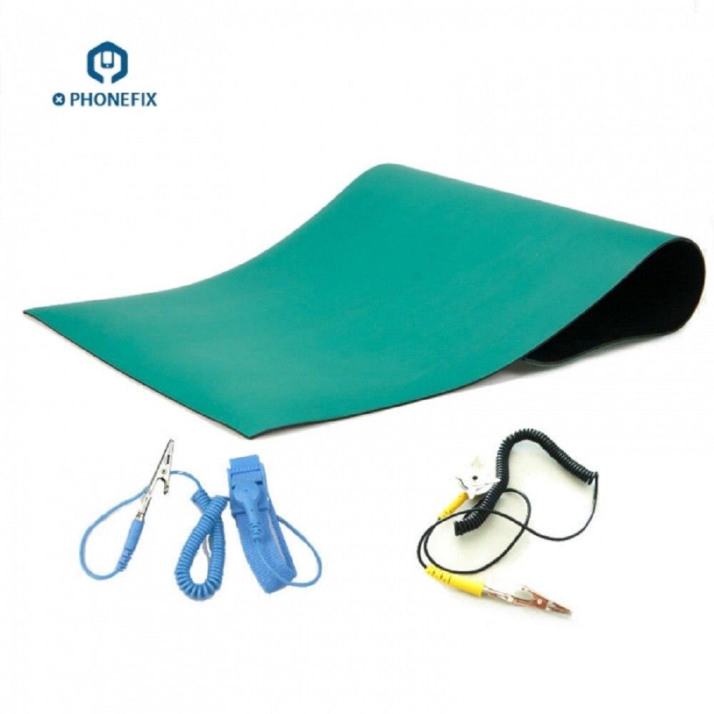 Anti-static ESD Safe Work Mat Heat-resistant BGA Soldering Desk Pad +Ground Wire+ ESD Wrist For BGA Soldering Repair
