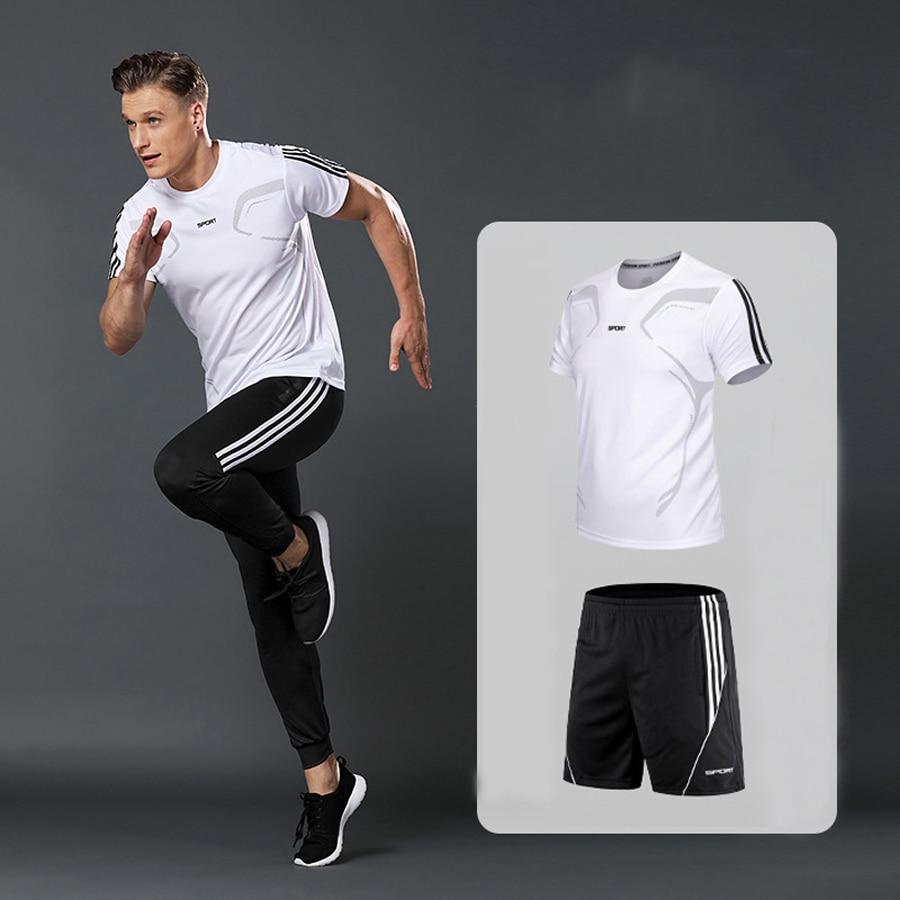 Brand Men's Sportswear Kit Short Sleeve Sports Sport Shirt Men Running 2pcs Suit For Soccer Gym Fitness Men T-Shirts+Shorts Sets 6