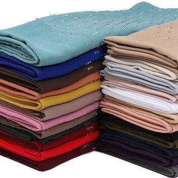 Bubble chiffon diamond hijab scarf shawls stone muslim scarves wrap headband 25 color scarves/scarf 70*180cm