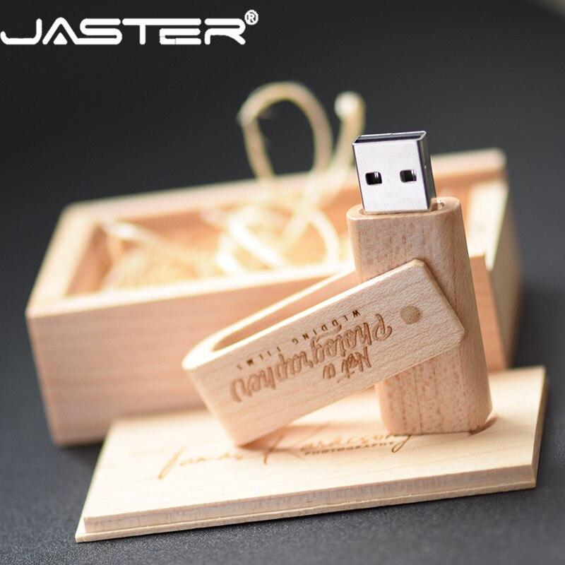 JASTER Free Shipping (over 10pcs Free LOGO) Wooden Spin + Box USB 2.0 Pendrive 4GB 8GB 16GB 32GB 64GB 128GB Usb Flash Drive