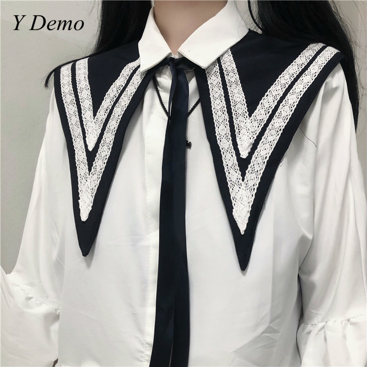 Japanese Cute Stripes Navy Collar Lace Up Girl Tie
