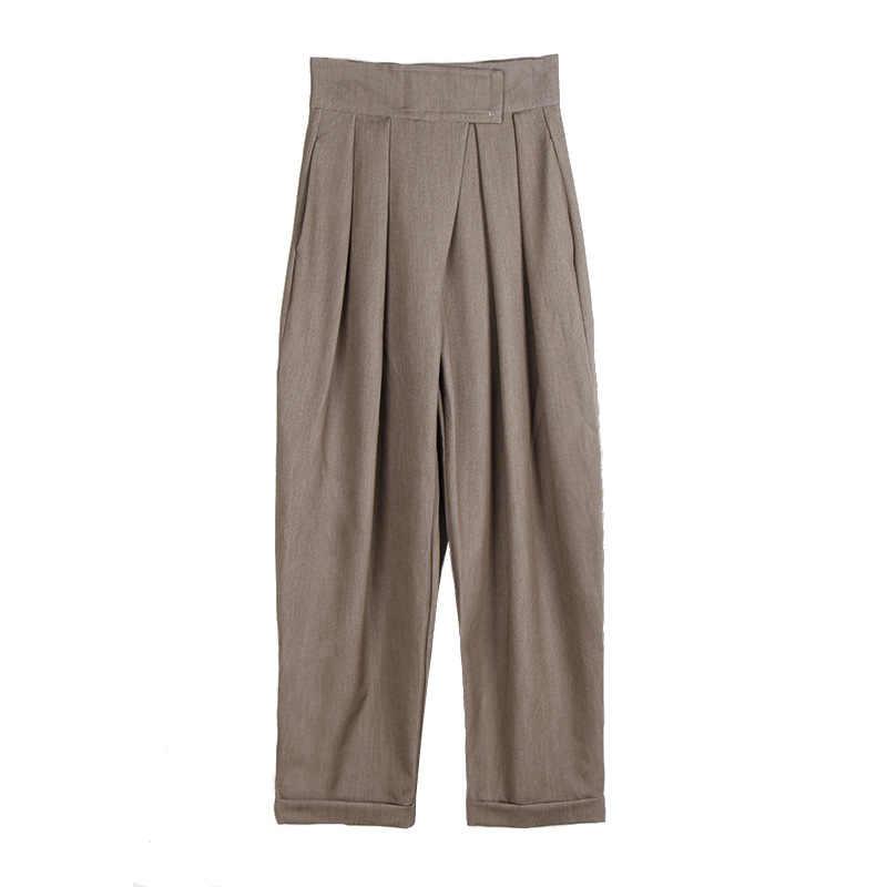 2019 sonbahar büyük geniş bacak pantolon kadın cırt ince turp pantolon Flap rahat pantolon