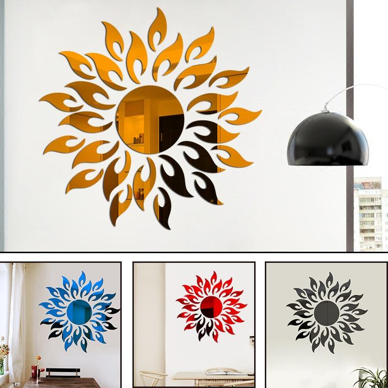 Girassol espelho adesivos de parede diy prata reflexivo adesivo decoração do quarto removível decalque da parede casa sala estar arte decoração