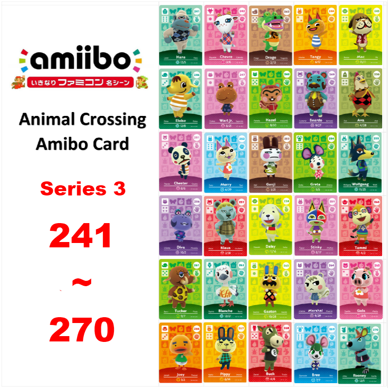 Animal Crossing <font><b>Amiibo</b></font> <font><b>Card</b></font> NFC <font><b>Card</b></font> 241 To 270 for Nintendo Switch NS GamesSeries 3 (241 To 270) image