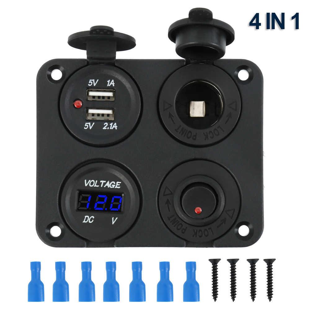 12V Multifungsi 4 In 1 Soket Pemantik Rokok Di Mobil Dual USB Port Charger Voltmeter Panel
