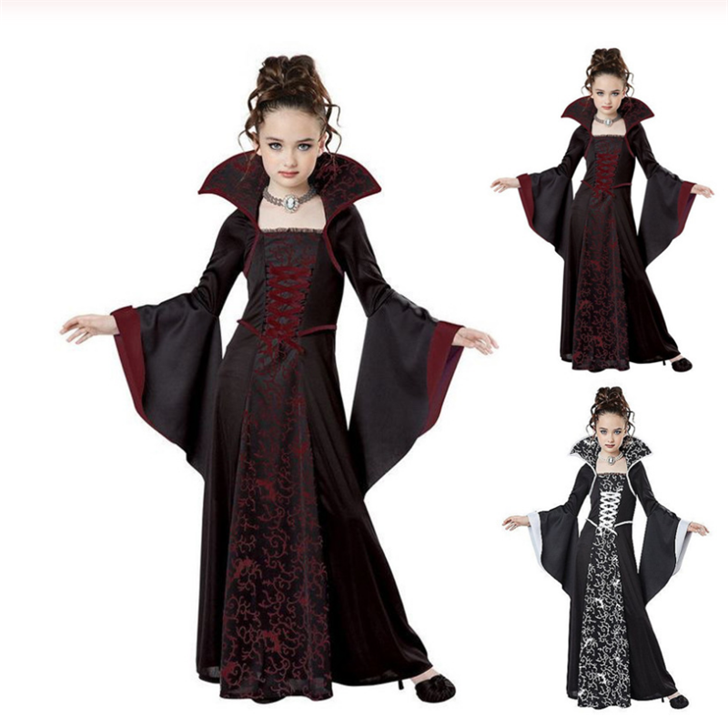Scarlet Witch Halloween Costume For Kids Girls Vampire Cosplay Costume Disfraz Halloween Mujer Child Clothes For Party