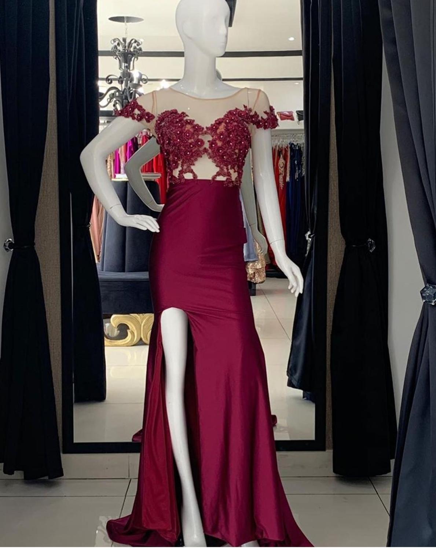14574 2020 Vestido De Graduación De Vino Rojo Con Abertura Lateral Satinado Hasta El Suelo Vestidos De Fiesta De Mujer Formal De Manga Corta