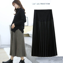 New Autumn winter Maternity Fashion Dresses woolen pleated skirt Pregnant women Clothes High Waist Long Skirts elastic waist belly maternity long skirts bottoms clothes for pregnant women autumn charming knitted pregnancy skirts pregnant