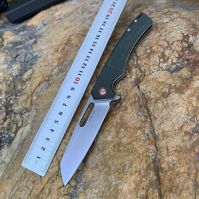 New TUNAFIRE D2  Tactical  folding knife  High-end linen handle  outdoor hiking  camping EDC tool pocket  knife 5