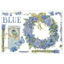 Китайские наборы для вышивки крестиком синие венки и птицы 11ct