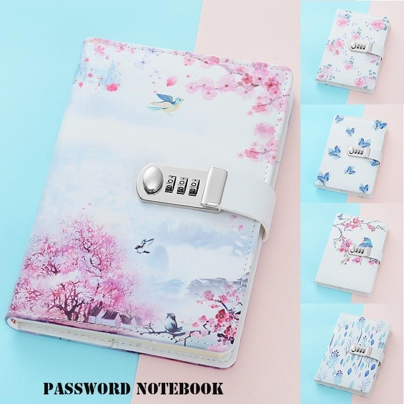 A5 Natural Scenery Print Cover Notebook Portable Password Notebook Journal Diary Secret Garden Book Office & School Supplies
