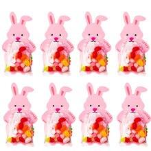 WEIGAO różowy królik torby cukierków przyjęcie wielkanocne dekoracje cukierki cukrowe torby na czekoladki opakowania z życzeniami Wedding Decora
