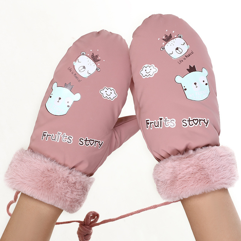 Winter Women's Gloves Cute Korean Cartoon Student Warm And Plush Thicken Cold-proof Riding Driving Gloves