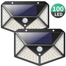 100LEDs 태양 충전 라이트 3 모드 270 학위 모션 센서 벽 램프 태양 강화한 방수 벽 빛 야외 램프