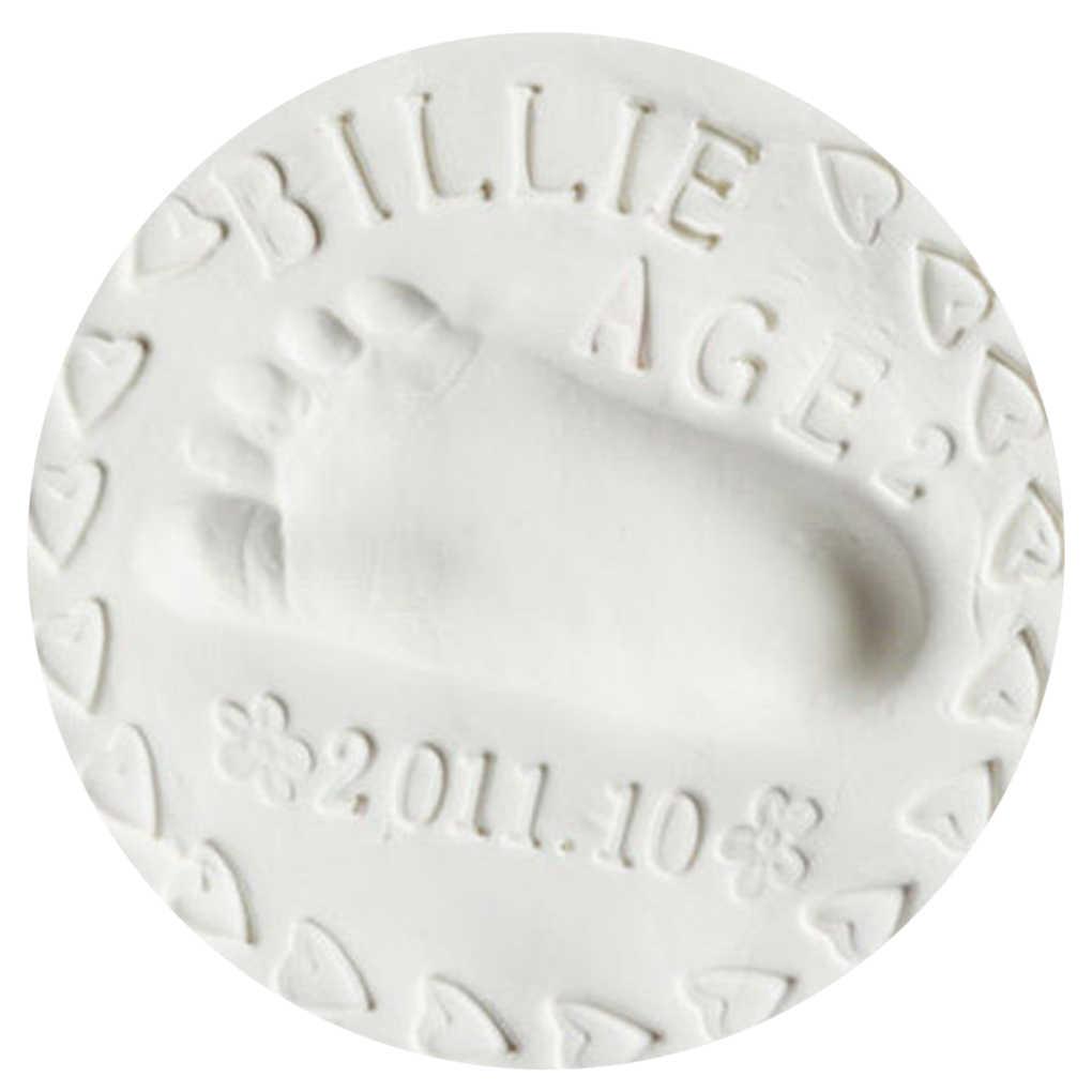 Pegada do bebê handprint ultra leve estéreo cuidados com o bebê secagem de ar argila macia mão do bebê pé impressão kit fundição brinquedos diy