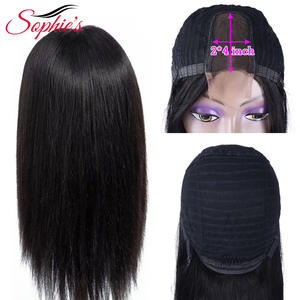 Sophie's Wig Human-Hair-Wigs Lace Middle-Part Straight Brazilian Natural-Color with Pre-Plucked