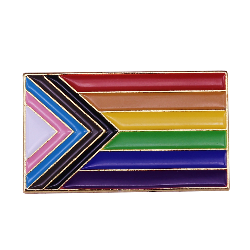 Прогресс Гордость Флаг эмаль на булавке значок Радуга включено геи ЛГБТ равенства разнообразия лесбиянки Би Trans бесполые нетрадиционной ор...