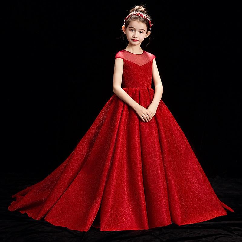 CHILDREN'S Dress Princess Dress Tailing Catwalks Model Red High-End Girls Evening Dress Piano Costume Puffy Yarn