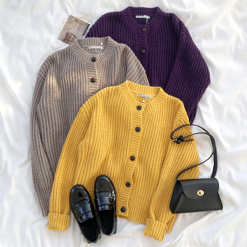 Mooirue Spring Elegant Women Knitted Cardigan Yellow Brown Sweater Coat Long Sleeve Tops