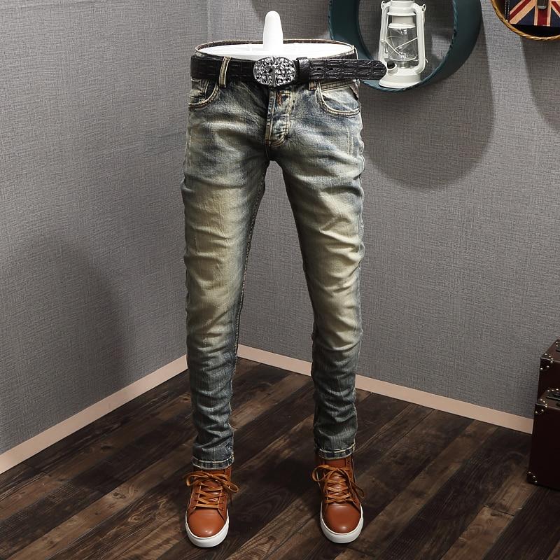 Italian Vintage Fashion Men Jeans Retro Yellow Wash Elastic Slim Fit Designer Jeans High Quality Streetwear Hip Hop Jeans Men
