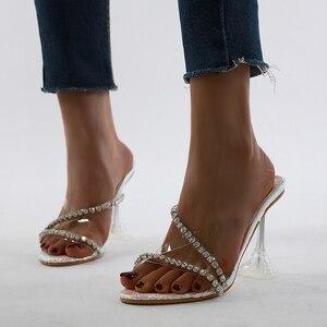 Image 2 - Kcenid прозрачные стразы из ПВХ, хрустальные тапочки, коллекция 2020, Летняя женская обувь с открытым носком для вечерние