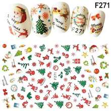 High Quality  Nail Stickers on Nails Christmas pattern/flower/fruits / Art Water Transfer Stickers Decals sparkling christmas tree pattern door art stickers