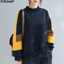 DIMANAF 2021 grande taille sweat à capuche pour femme sweat Patchwork couleurs épaississement chaud pull décontracté Style coton automne nouveaux sweats à capuche