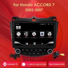 Ossuret radio Multimedia con GPS para coche, radio con Android 10, navegador, DVR, SWC, FM, cámara, BT, USB, DAB, DTV, OBD, PC, para Honda ACCORD 7