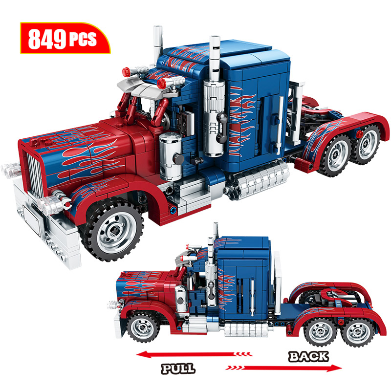 849pcs Classic Pull Back Special Commando Car Building Blocks Legoingly Technic Heavy Container Truck Bricks Toys For Boys Gift