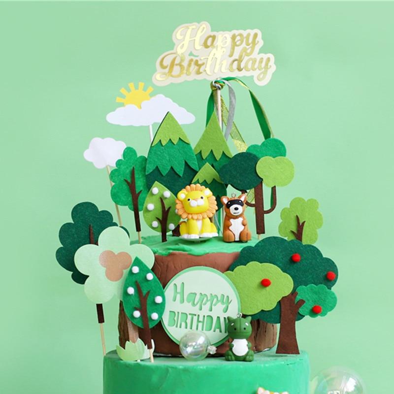 Sensational Cute Jungle Theme Forest Party Cake Topper Felt Tree Animal Lion Personalised Birthday Cards Xaembasilily Jamesorg