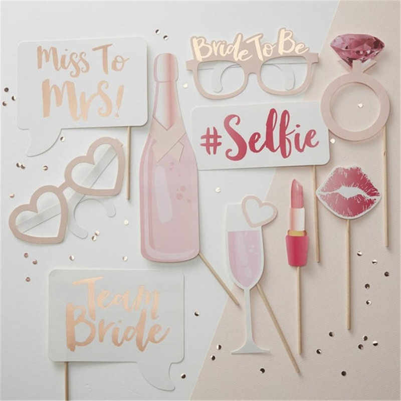 Rose Gold Team Bruid Rietjes Vrijgezellenfeest Glazen Bruid Badges Bruid Om Foto Props Bachelor Party Decoratie Qq164
